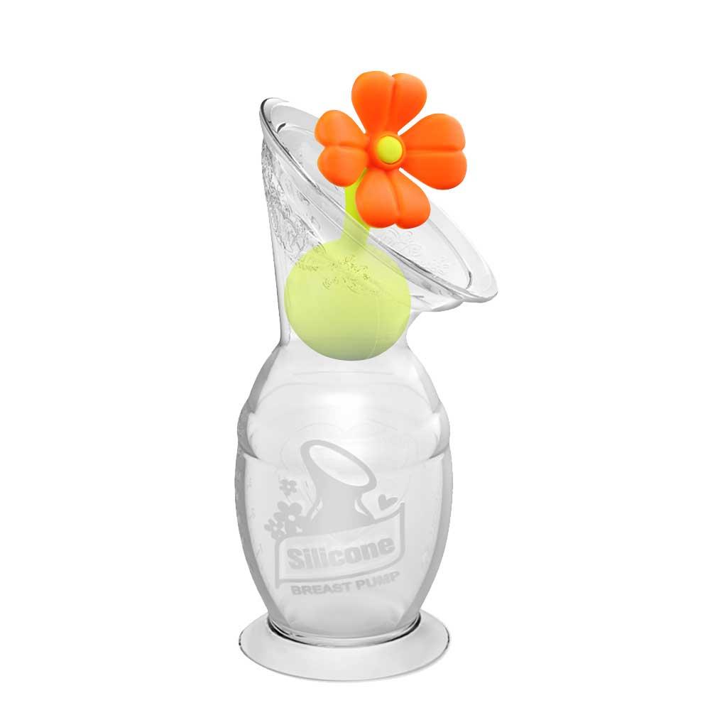 haakaa Milchpumpe der 2. Generation mit orangem Blumenverschluss